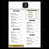 Restaurant Menu Design Template layout with text graphic elements