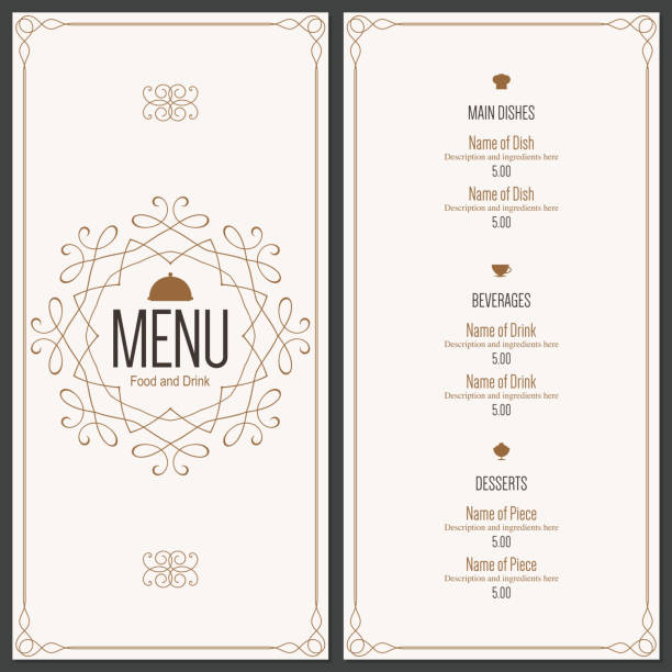 illustrazioni stock, clip art, cartoni animati e icone di tendenza di progettazione di menu del ristorante - menù