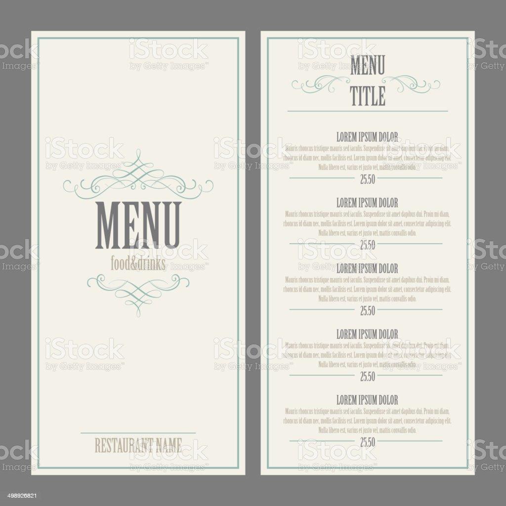 Restaurant Menu Design. Vector Illustration vector art illustration