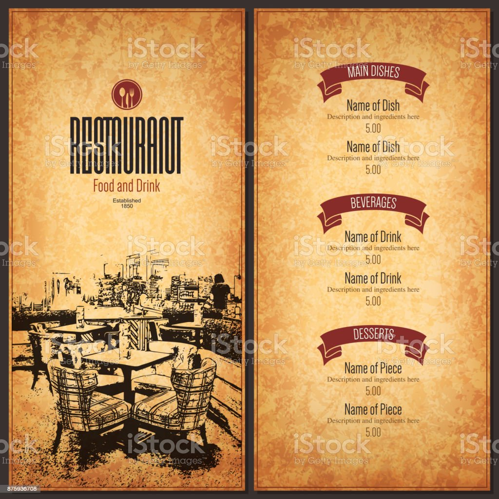 Restaurant Menu Design Vector Menu Brochure Template For Cafe Coffee - Menu brochure template