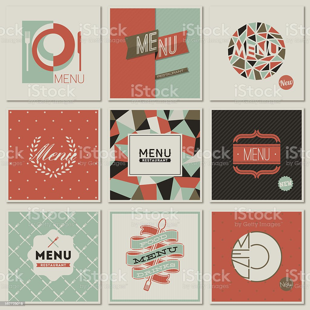 restaurant menu designs collection of retrostyled illustrations