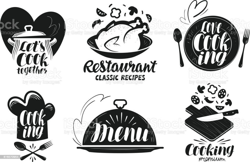 Restaurant menu food label set cooking kitchen cuisine icon or logo cooking kitchen cuisine icon or logo forumfinder Gallery