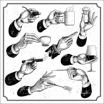 Restaurant menu hands set