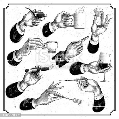 Engraved hand signs with food, smoke and drinks eps9