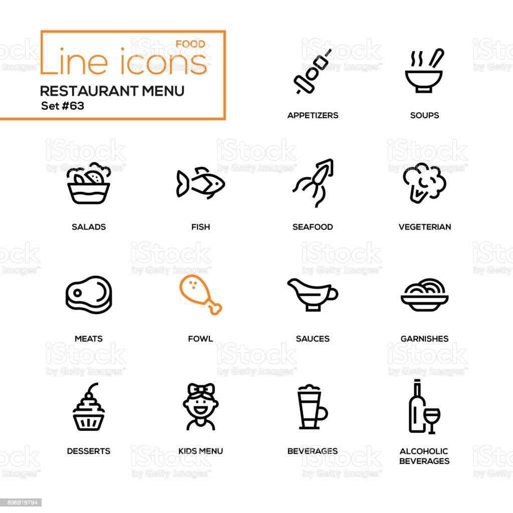 Menu restaurant - icônes du design ligne définie - Illustration vectorielle