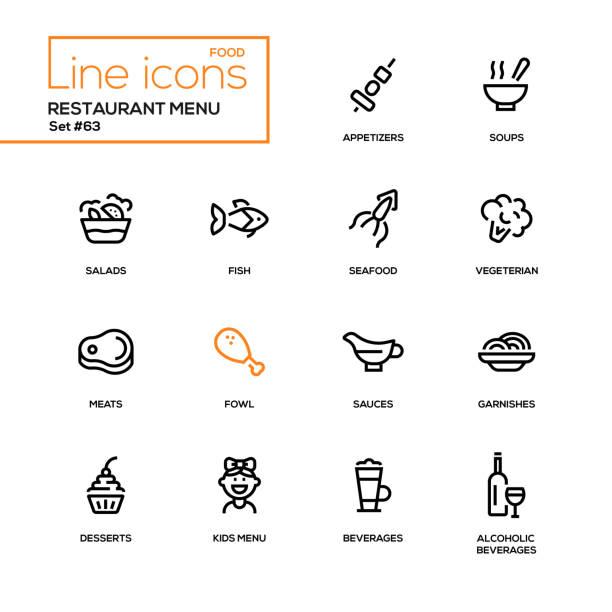 illustrations, cliparts, dessins animés et icônes de menu restaurant - icônes du design ligne définie - entrée