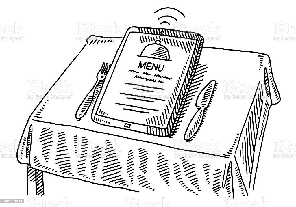 Restaurant Menu Order Tablet Pc Table Drawing Stock Vector