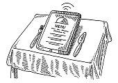 Hand-drawn vector drawing of a Menu Ordering with a Tablet PC on a Restaurant Table. Black-and-White sketch on a transparent background (.eps-file). Included files are EPS (v10) and Hi-Res JPG.