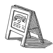 Hand-drawn vector drawing of a Restaurant Menu Stand-Up Display. Black-and-White sketch on a transparent background (.eps-file). Included files are EPS (v10) and Hi-Res JPG.
