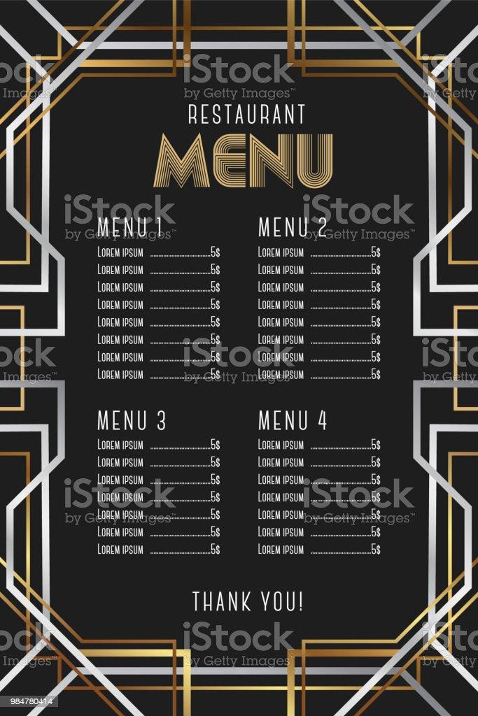 Modelo de menu do restaurante. Design de moldura luxo Vintage Artdeco. - ilustração de arte em vetor