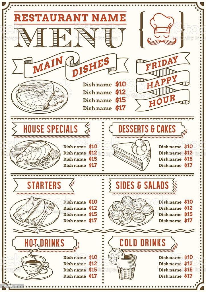 Restaurant Menu Template vector art illustration