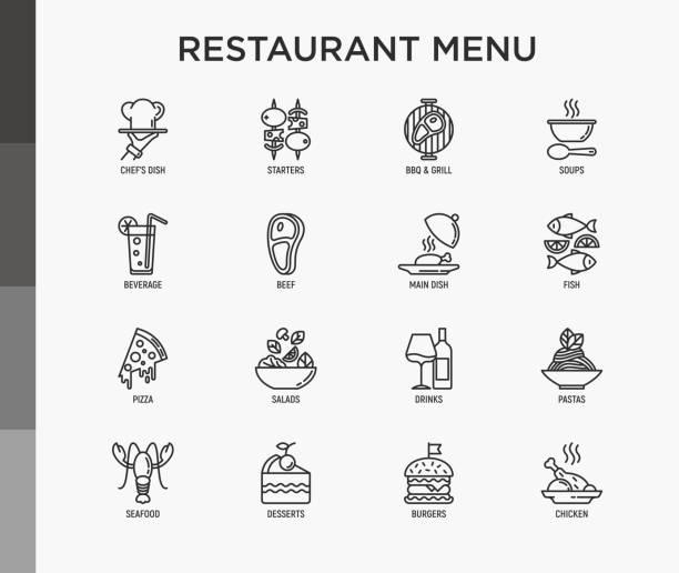 illustrations, cliparts, dessins animés et icônes de menu du restaurant mince gamme d'icônes ensemble: entrées, plat de chef, bbq, soupe, boeuf, steak, boisson, poisson, salade, pizza, vin, fruits de mer, hamburger. illustration moderne de vecteur. - entrée