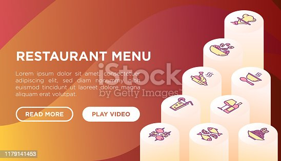 Restaurant menu web page template with thin line isometric icons: starters, chef dish, BBQ, soup, beef, steak, beverage, fish, salad, pizza, wine, seafood, burger. Modern vector illustration.