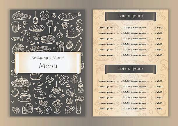restaurant menü mit zeichnung doodle elemente - salatbar stock-grafiken, -clipart, -cartoons und -symbole