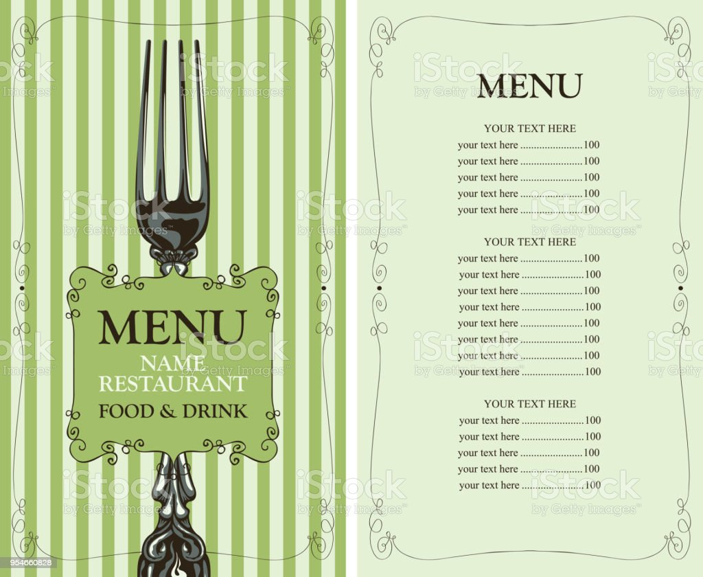 restaurant menu with price list and fork stock vector art more