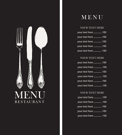 restaurant menu with price list and old cutlery