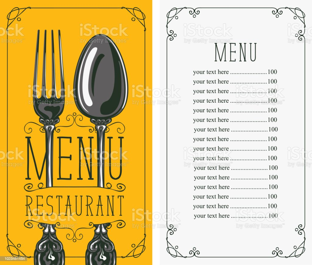 restaurant menu with price list fork and spoon stock vector art