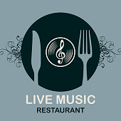 Vector menu or banner for restaurant with live music decorated with old vinyl record, treble clef and cutlery on the gray background in retro style