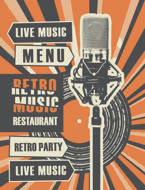 ilustraciones, imágenes clip art, dibujos animados e iconos de stock de menú de restaurante con disco de vinilo y micrófono - póster