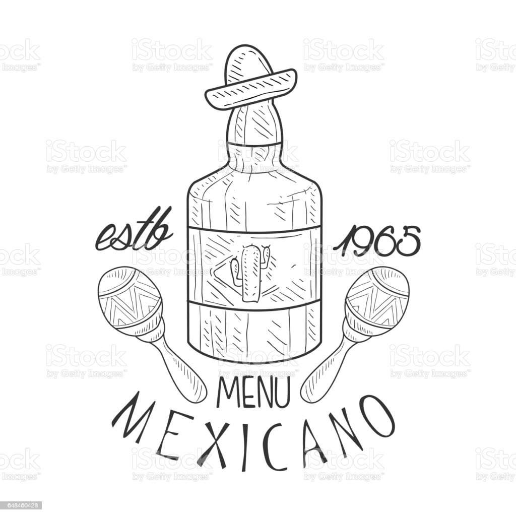 Restaurant Mexican Food Menu Promo Sign In Sketch Style