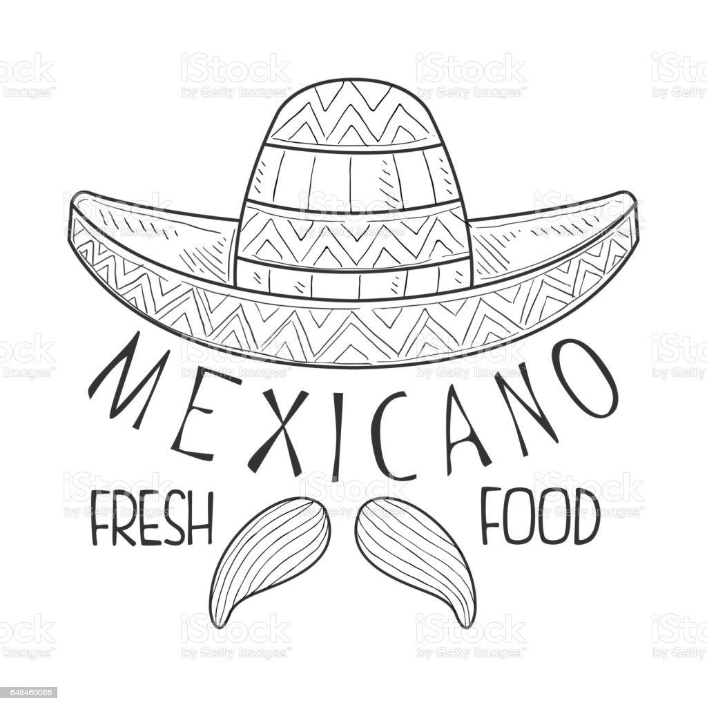 Restaurante mexicano alimentos frescos menú Promo muestra en estilo boceto  con Sombrero y bigote de Mariachi be9869c5ac6