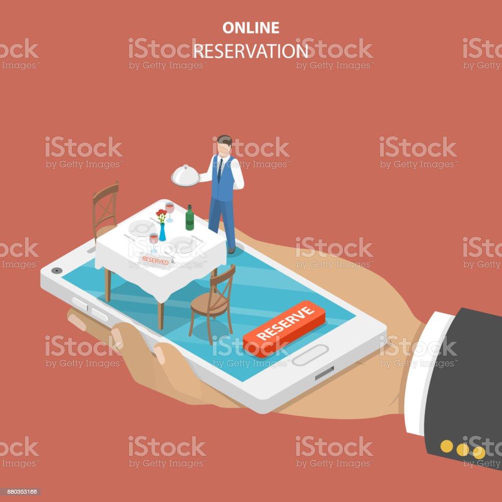 Restaurante concepto vector plano isométrico de reserva online. - ilustración de arte vectorial