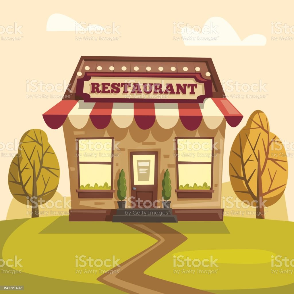 Building cartoon clipart restaurant building and restaurant building - Restaurant Or Cafe Exterior Building Vector Cartoon Illustration Royalty Free Stock Vector Art