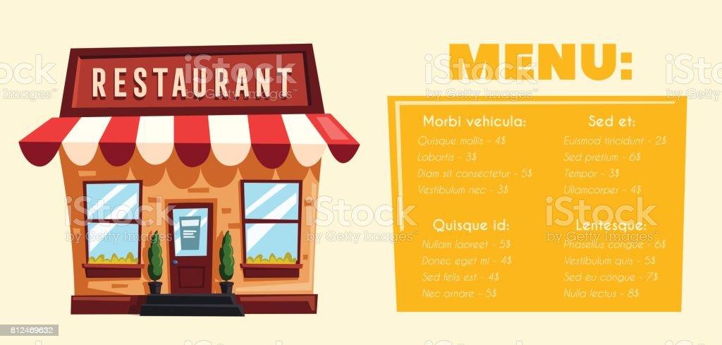 Ilustración De Restaurante O Cafetería Edificio Exterior