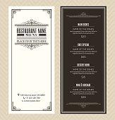 Restaurant or cafe menu design template with vintage retro frame