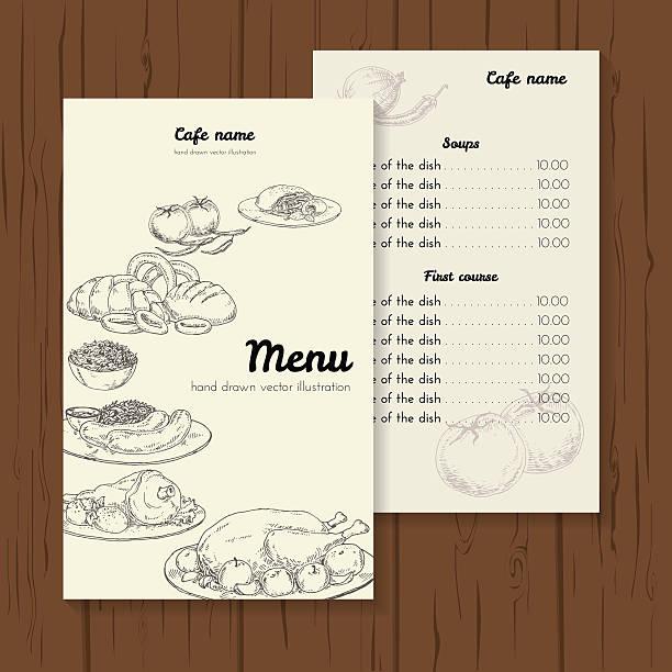 restaurant und café-menü-vorlage - sauerkraut stock-grafiken, -clipart, -cartoons und -symbole
