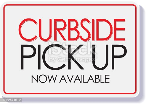 Vector illustration of a typography design signage for businesses that want to advertise Open for Curbside Pick up and delivery options for customers.  Print ready jpg included with EPS 10 vector download.