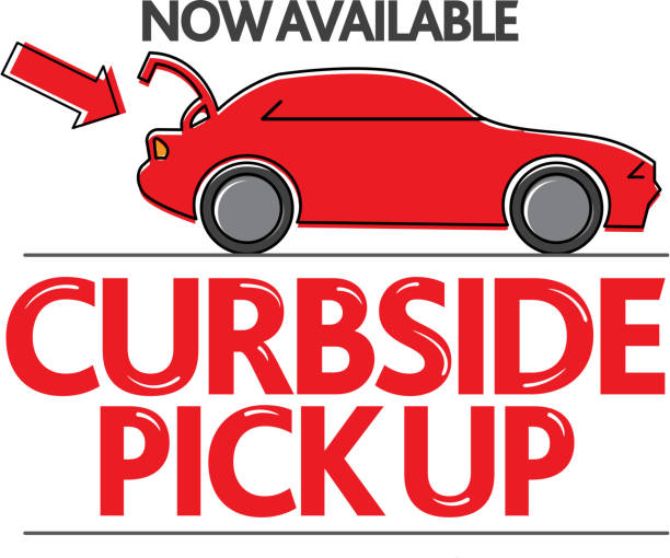 Restaurant or small business Curbside Pick Up and Delivery Signage vector art illustration