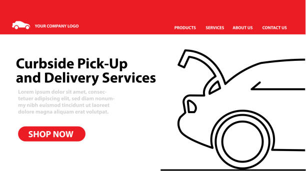 Restaurant or small business Curbside Pick Up and Delivery Web banner advertisement vector art illustration