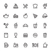 Restaurant - 25 Outline Style - Single black line icons - Pixel Perfect / Pack #11 Icons are designed in 48x48pх square, outline stroke 2px.  First row of outline icons contains: Ice Cream, Panna Cotta, Restaurant, Chef, Dessert;  Second row contains: Teapot, Cake, Apple, Pizza, Serving Tray;  Third row contains: Margarita, Lemonade, Croissant, Soda, Latte;  Fourth row contains: Menu, Wine, Hamburger, Donut, Coffee to Go;  Fifth row contains: Beer, Spices, Cupcake, Crockery, Coffee.  Complete Grandico collection - https://www.istockphoto.com/collaboration/boards/FwH1Zhu0rEuOegMW0JMa_w