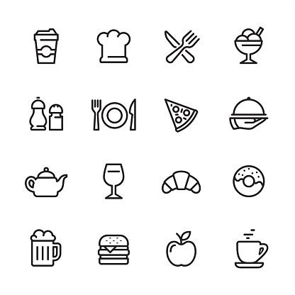 Restaurant - outline icon set