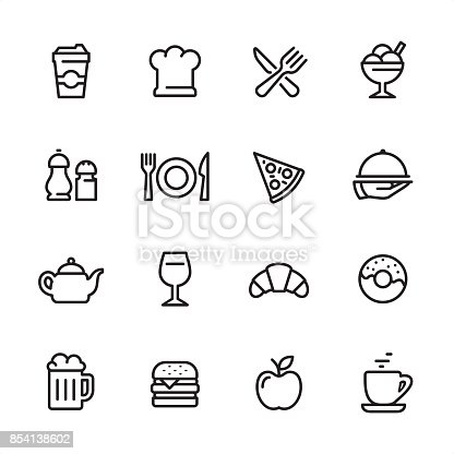 16 line black and white icons / Set #25