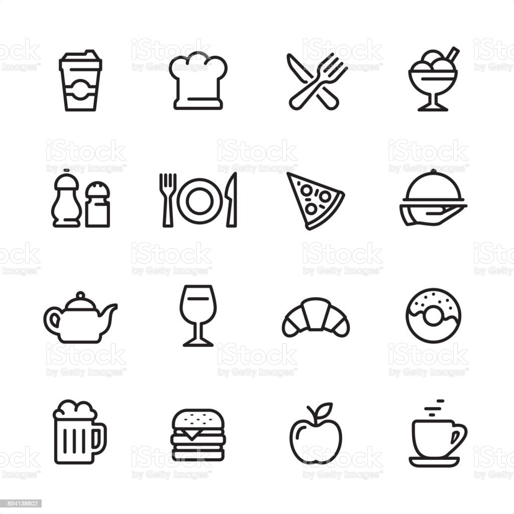 Restaurant - outline icon set vector art illustration