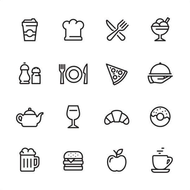 Restaurant - outline icon set 16 line black and white icons / Set #25 chef's hat stock illustrations