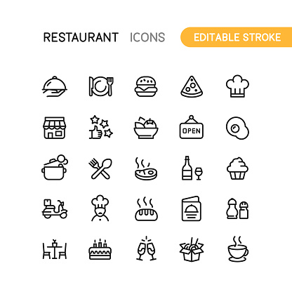 Restaurant Outline Icons Editable Stroke