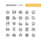 Set of restaurant outline vector icons. Editable Stroke.