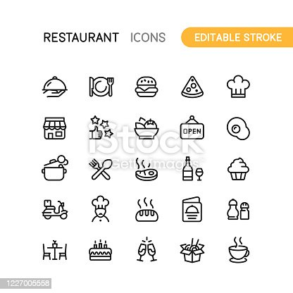 Set of restaurant outline vector icons. Editable Stroke.