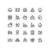 Set of restaurant outline vector icons.