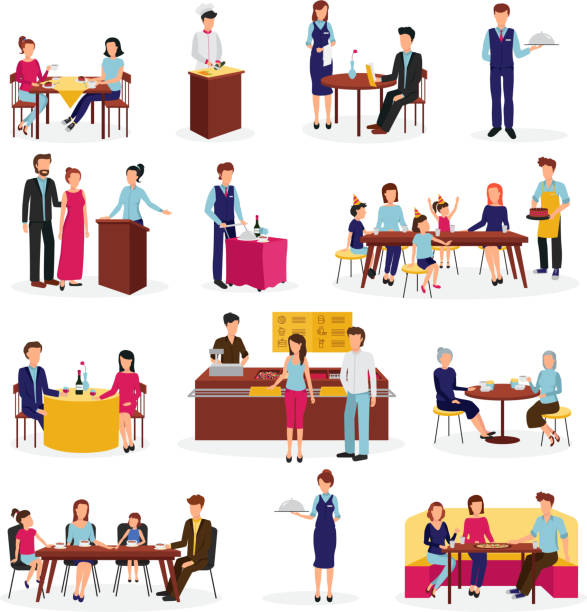 ilustrações de stock, clip art, desenhos animados e ícones de restaurant people set - kitchen counter