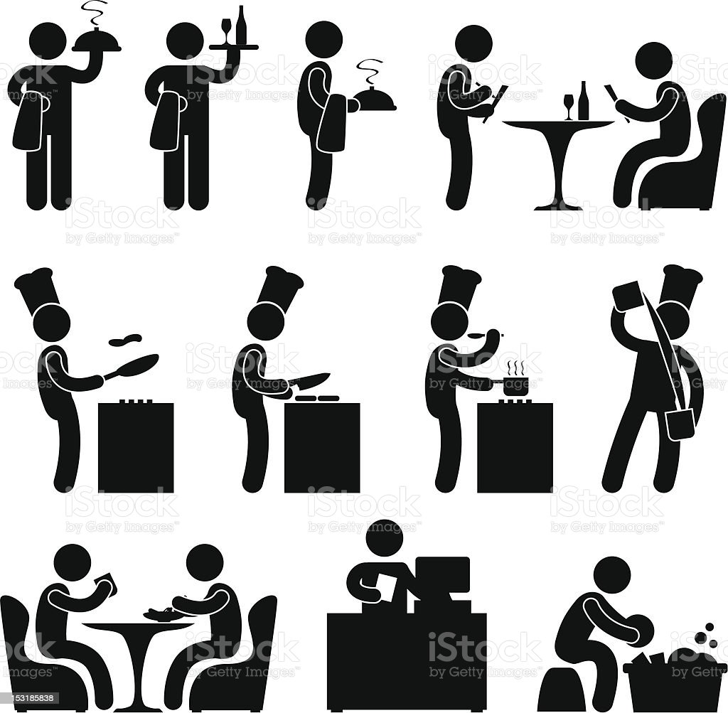 restaurant people waiter chef pictogram stock vector art  u0026 more images of adult