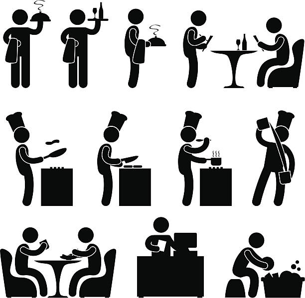 Restaurant People Waiter Chef Pictogram A set of human figure and pictogram showing scenarios of a restaurant. cooking silhouettes stock illustrations