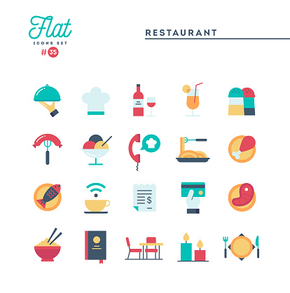 Restaurant, phone ordering, meal, receipt and more, flat icons set