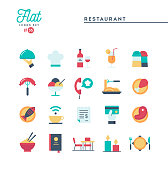 Restaurant, phone ordering, meal, receipt and more, flat icons set, vector illustration