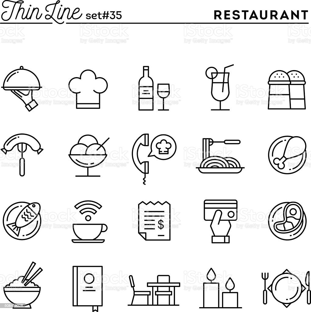 Restaurant, phone ordering, meal, receipt and more, thin line icons vector art illustration