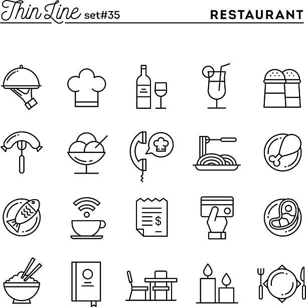 restauracja, telefon zamówienia, mączki, przyjęcia i więcej, cienkich linii ikon - bar lokal gastronomiczny stock illustrations