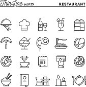 Restaurant, phone ordering, meal, receipt and more, thin line icons